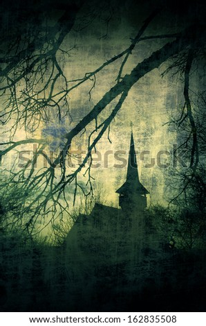 Vintage image of Dracula castle from Transylvania, Romania - stock photo