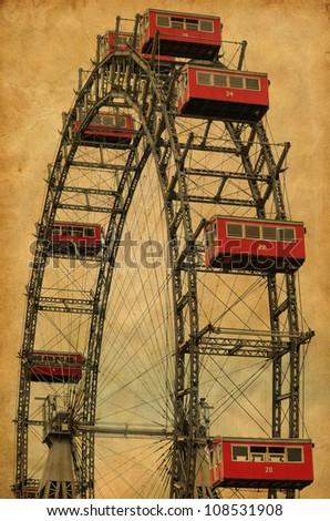 Vintage image of famous ferries wheel in Veinna Austria - stock photo