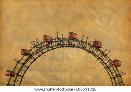 Vintage image of famous Ferris Wheel in Prater park - Vienna Austria - stock photo