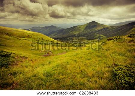 vintage image of mountains - stock photo