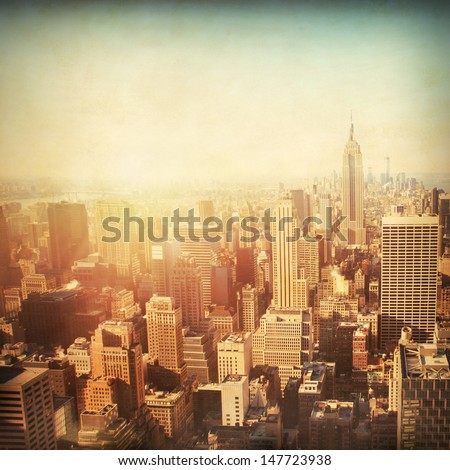 Vintage image of New York City Manhattan skyline at sunset.  - stock photo