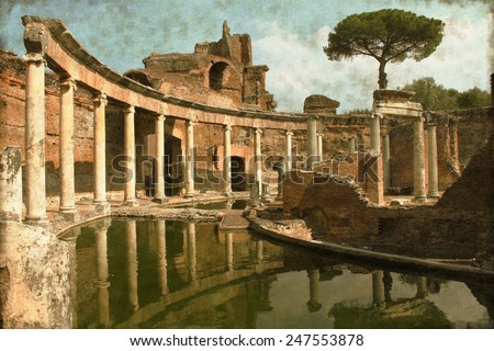 Vintage image of Ruins in Villa Adriana near Rome, Italy - stock photo
