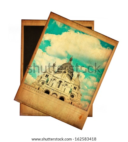 Vintage image of Sacre Coeur isolated on white