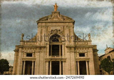Vintage image of St. Mary of Angels Basilica in Assisi, Italy - stock photo