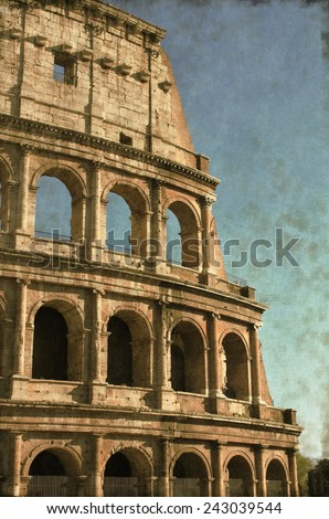 Vintage image of the Colosseum in Rome, Italy - stock photo