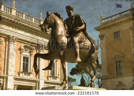 Vintage image of the Equestrian Statue of Marcus Aurelius in Campidoglio square of Rome, Italy - stock photo