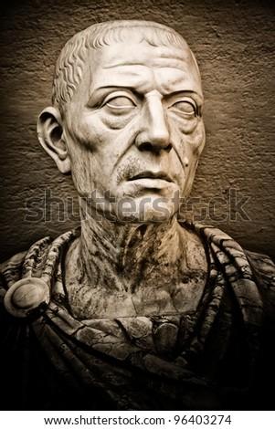 Vintage image of the roman emperor Julius Caesar - stock photo