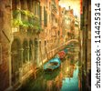 Vintage image of Venetian canals - stock photo