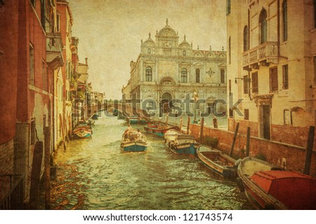 Vintage image of Venice canals - stock photo