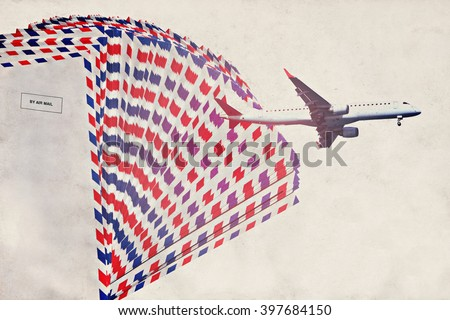 Vintage image with post envelopes and  plane. Old paper background. Air mail theme - stock photo