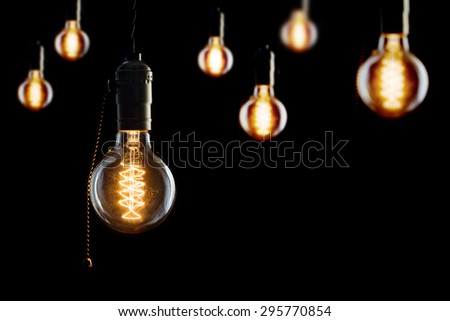Vintage incandescent Edison type bulbs  - stock photo