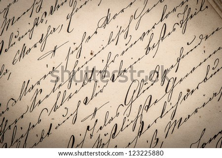 vintage ink handwriting. grungy paper background - stock photo