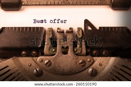 Vintage inscription made by old typewriter, best offer - stock photo