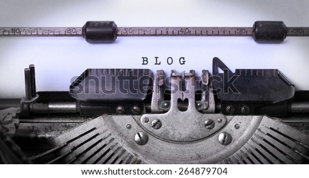 Vintage inscription made by old typewriter, blog - stock photo