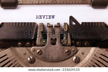 Vintage inscription made by old typewriter, review - stock photo