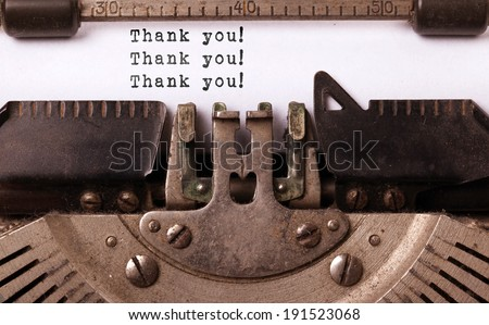 Vintage inscription made by old typewriter, thank you! - stock photo