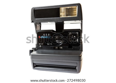 Vintage instant film camera Isolated on a white background - stock photo