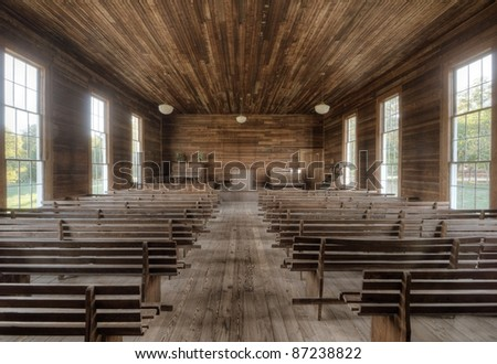 Vintage interior of an authentic early 19th century Chapel. - stock photo