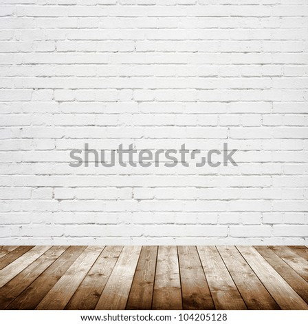 vintage interior room with brick wall - stock photo