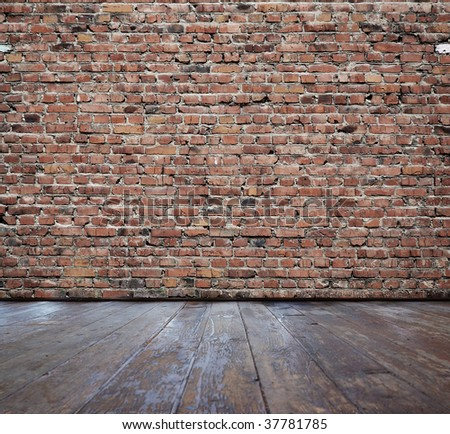 vintage interior with brick wall - stock photo