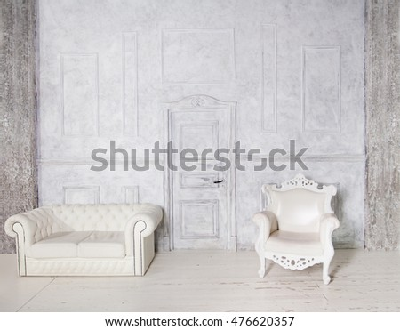Vintage Interior with Sofa, Armchair, Stucco Wall and Door, Gray Background