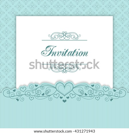 Vintage invitation template with lacy borders. Illustration