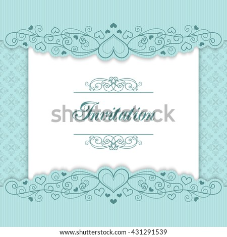 Vintage Invitation Template Lacy Borders Illustration Stock
