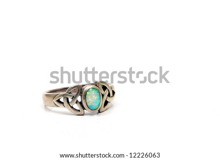 Vintage jewelery in silver and other semi-precious materials. Opal ring. - stock photo