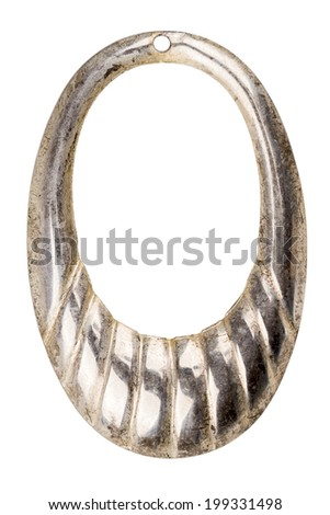 Vintage jewelry element - silver circle - isolated on white - stock photo
