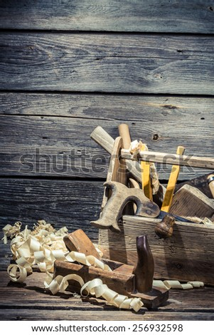 Vintage joinery box with tools - stock photo
