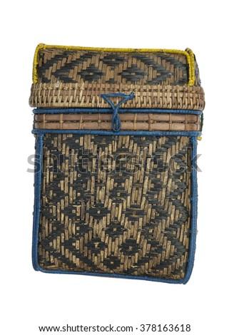 vintage Karen bamboo bag isolated on white background - stock photo