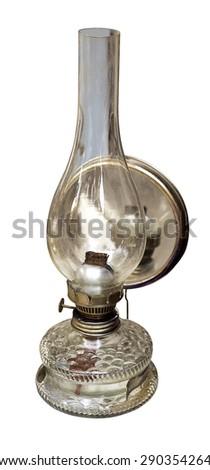 vintage kerosene lamp on white background - stock photo