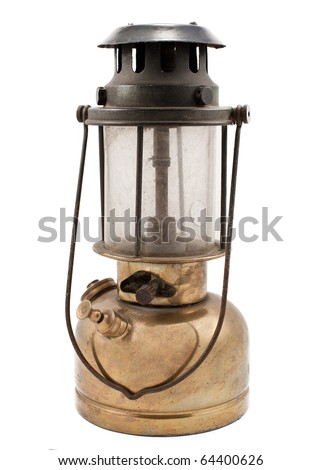 vintage kerosene lamp on white background - stock photo