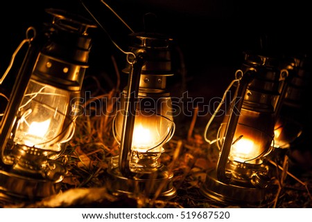 Vintage kerosene lamps in autumn evening
