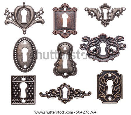 Vintage keyholes collection isolated on white background