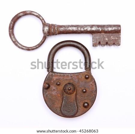 vintage keys and padlock - stock photo