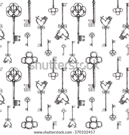 Vintage keys. seamless pattern. Hand drawn illustration. antiques icon.