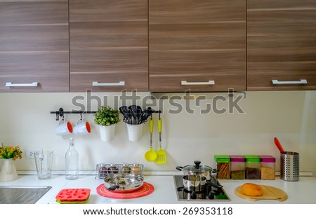 Vintage kitchen counter background - stock photo