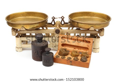 Vintage kitchen scale with set of weights. - stock photo