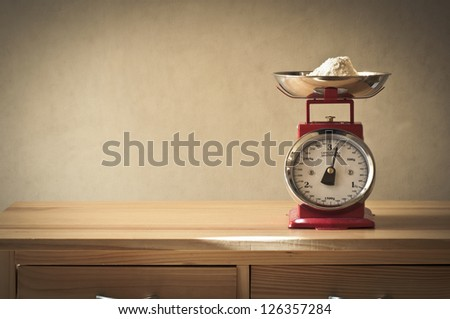 Vintage kitchen scales - stock photo
