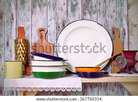 Vintage Kitchen Utensil  on a rustic wooden wall
