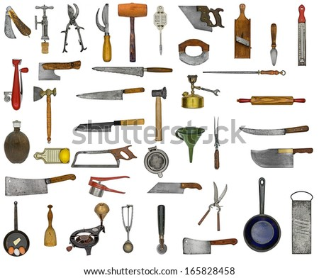vintage kitchen utensils collage over white - stock photo