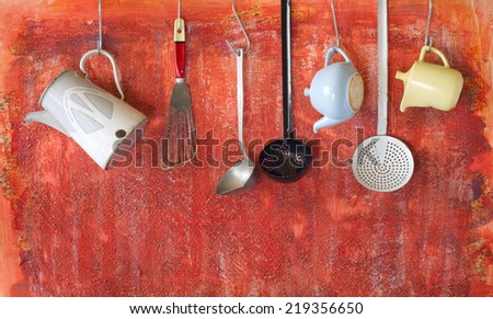 vintage kitchen utensils, cooking concept, free copy space  - stock photo
