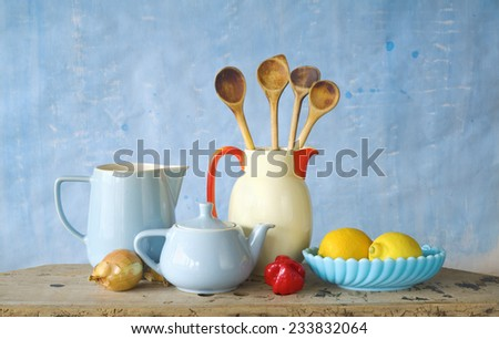 vintage kitchen utensils,food ingredients, cooking concept - stock photo