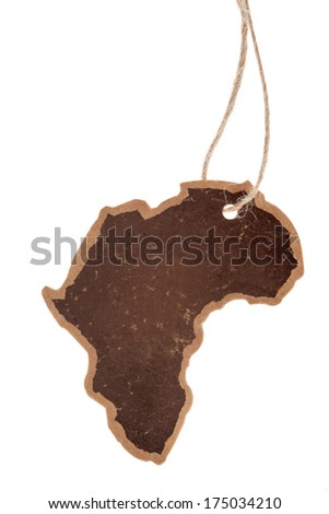 Vintage label, africa continent silhouette, isolated - stock photo