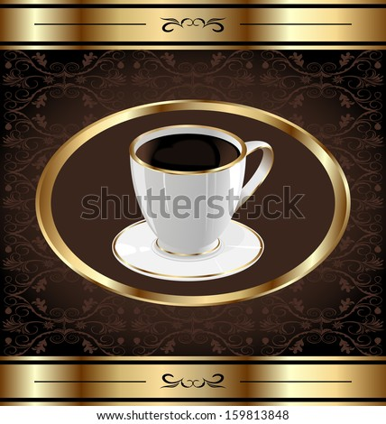vintage label for wrapping coffee, coffee cup - raster - stock photo