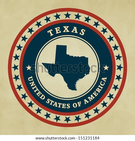 Vintage label with map of Texas - stock photo