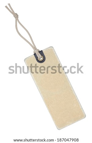 Vintage label with string isolated on the white background, clipping path included. - stock photo