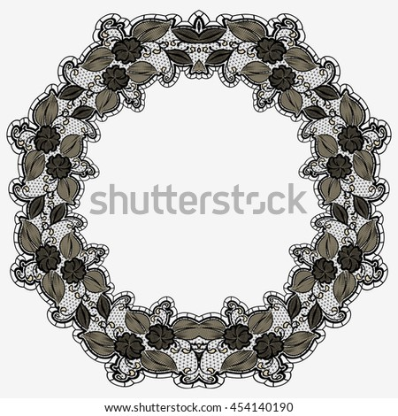 Vintage lace frame isolated on white background. Black openwork floral pattern circle. Rasterized version - stock photo