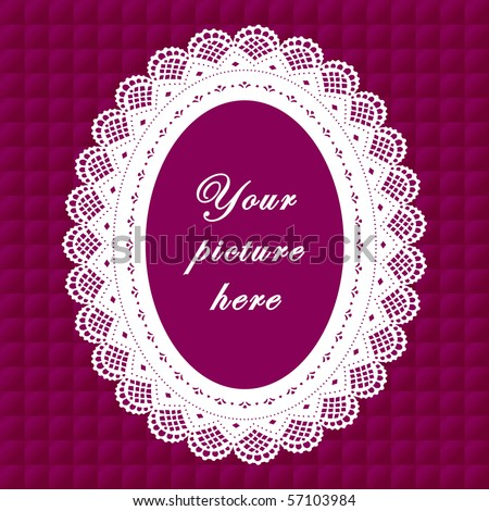 Vintage Lace Frame, purple quilted background, oval doily border with copy space to customize with pictures or text for albums, scrapbooks, holidays, do it yourself arts, crafts and hobbies.    - stock photo